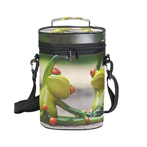 MONTOJ Awesome Two Frog Yoga Tragbare 2 Flaschen gepolsterte vielseitige Weinkühltasche Isolierte Weintasche