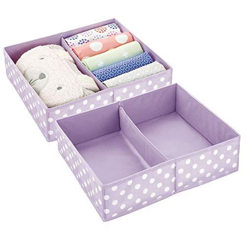 mDesign Juego de 2 Cajas para almacenar Ropa, Cosas de niños, etc. – Organizador de cajones de Tela para Cuarto Infantil – Cesta organizadora para armarios con 2 Compartimentos – Lila Claro y