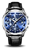 Mens Luxury Automatic Leather Band 3 ATM Waterproof Sport Wrist Watches (Silver-Blue)