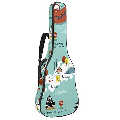 Guitar Gig Bag Waterproof Zipper Soft Guitar Backpack, Bass Acoustic & Classical Folk Electric Guitar Bag Japan Travel Map
