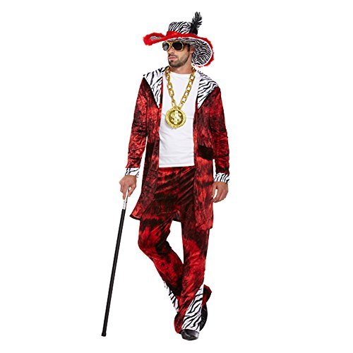 Big Daddy Costume - Déguisement Rap - Hip Hop Adulte (Rouge) - Taille Unique