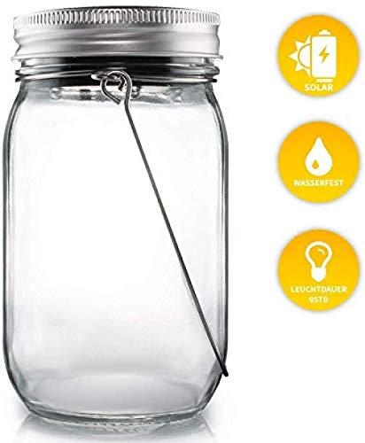 Solarglas - Auch als Gartenlampe oder Pendelleuchte - Wasserdichte Solarlampe - Hochwertige Solarlampe im Einmachglas - Gemütliches Sonnenlicht