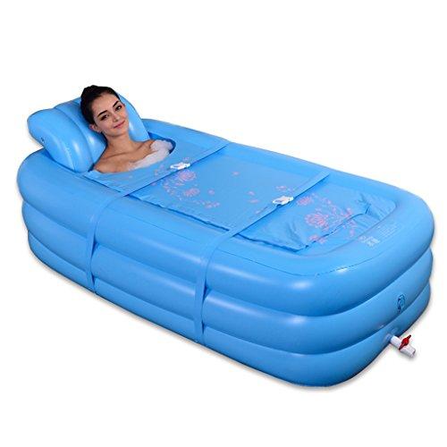 Bañeras con Jacuzzi Hinchable Plegable Grande para Adultos niños Tibia Acolchada Acolchada (Color : Blue, Size : 165 * 85 * 45cm)