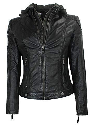 Gipsy - Damen Lederjacke Kapuze Lammnappa schwarz Größe XL