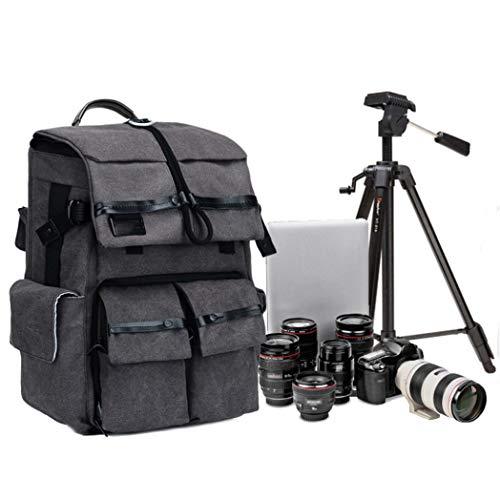 JCSW Kamerarucksack, Kameratasche Wasserdicht Stoßfest Mit Gepolsterten Spezialeinteilungen Fotorucksack für Objektive, Laptop, Stativhalter und DSLR-Kameras und Foto Zubehör, Schwarz, M030JC