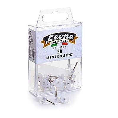 20 ganchos pequeños para colgar cuadros con alfileres de acero templado 10 unidades de 1,25 x 12 cm (recomendados para el hormigón) 10 unidades de 1,25 x 17 cm (recomendados para la madera) La parte del gancho de plástico es igual en ambos tamaños Pa...