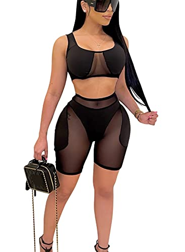 bluewolfsea Womens Sexy Sheer Mesh Patchwork Bodycon 2 Piece Outfits Color Block Tank Crop Top Shorts Set Large Black