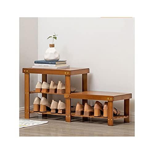 FEANG Zapatero de bambú para zapatos de 2/4 niveles, organizador de zapatos de 2/4 niveles, soporte para zapatero para entrada, pasillo y zapatero (tamaño 2 niveles)