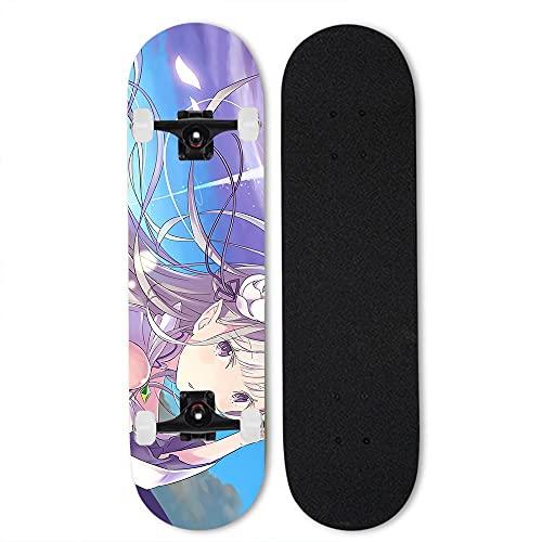 Totots Skateboard de Anime para Emilia, Re: Vida en un Mundo Diferente Desde el monopatín de Arce Cero, Doble tild Scooters de Cuatro Ruedas, monopatín Exterior, monopatín Profesional