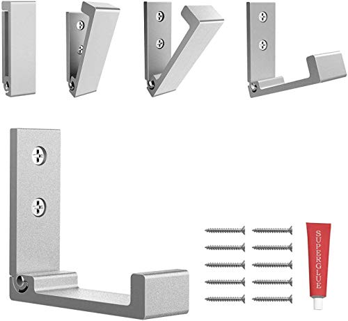 Foldable Adhesive Hooks,Heavy Duty Wall Hooks Zn Cu Alloy Ultra Strong Waterproof Hanger for Robe, Coat, Towel, Keys, Bags, Home, Kitchen, Bathroom . with Glue Adhesive .Set of 5 Pack (Silver)
