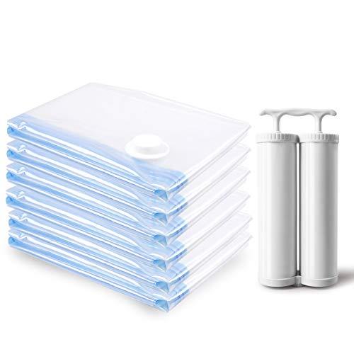 MRS BAG Vakuum Aufbewahrungsbeutel Kleiderbeutel 6 Jumbo (120x80CM) Wiederverwendbaren Platzsparern mit DOPPELTE Handpumpe für Reisen, Kleidung, Bettdecken, Bettwäsche, Kissen, Reisen