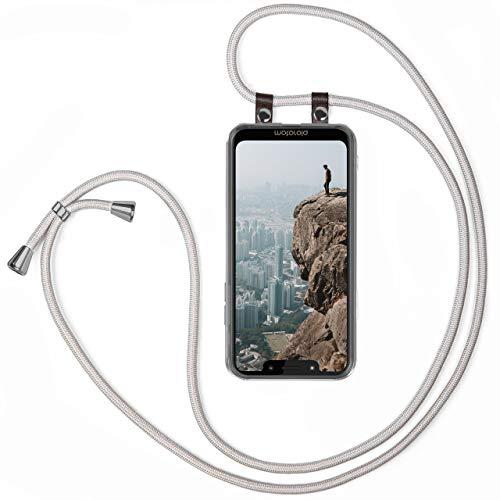 moex Handykette kompatibel mit Motorola Moto G7 Play - Silikon Hülle mit Band - Handyhülle zum Umhängen - Hülle Transparent mit Schnur - Schutzhülle mit Kordel, Wechselbar in Silber