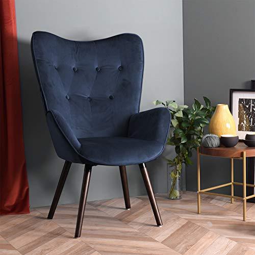 FURNISH1 Sillón de Terciopelo 68 x 73 x 106 cm Silla tapizada de Ocio Escandinavia con Patas de Madera marrón - Azul Oscuro