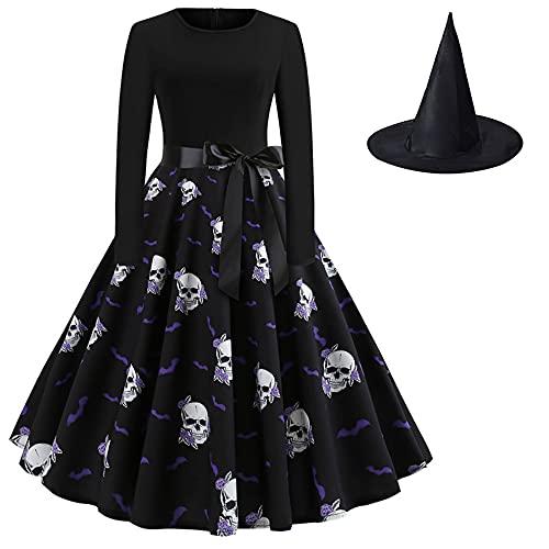 Mujer Calabaza Estampado Una Línea Falda Clásico Bruja Cosplay Traje De Cintura Alta Vestido De Halloween Traje Completo Conjunto Con Sombrero
