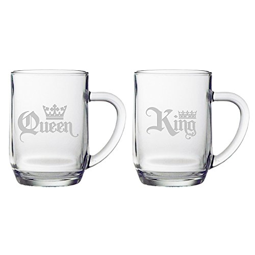 Susquehanna Glass Great Gift Idea 'King & Queen' Oversized Coffee/Beverage Mug, Set of 2, 19 oz