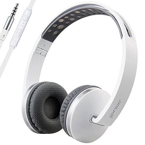 Gorsun Foldable Headphones with Mic and Volume Control for Travel, Sports, Lightweight Stereo On-ear Headsets Strong Bass Earphones (White)