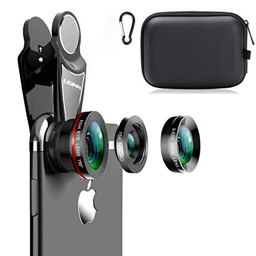 KINGMAS スマートフォン用カメラレンズ 3 in1ユニバーサル198°魚眼レンズ+ 0.63X広角レンズ+ iPad iPhone Samsung Androidおよびほとんどのスマートフォン用の15Xマクロクリップカメラレンズキット(ブラック3-in-1(アップグレード))
