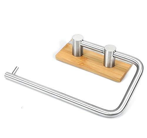 Portarrollos de papel higiénico autoadhesivo 3M, toallero sin papel de perforación para la cocina del baño, toallero de pared, acero inoxidable y bambú