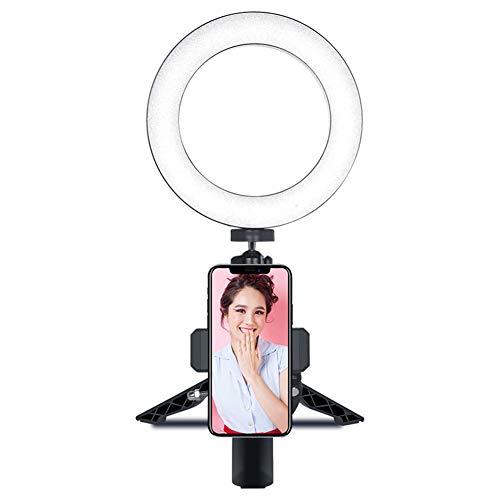 Anillo De Luz Led Con TríPode, Modos De 3 Luces, Luz De Escritorio Selfie Con Soporte Para TeléFono Celular Para Youtube, Video Y Maquillaje [Energy Class A +]