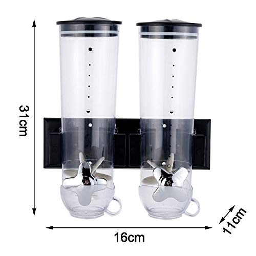 Why Choose MERICP Wall-mounted Canned Grain Dispenser, Double Chamber Plastic Storage Grain Dispense...