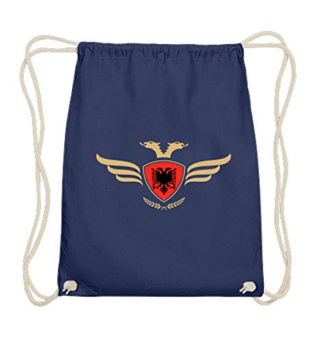 Hochwertige Baumwoll Gymsac - Albanien Fahne Fussball Fanshirt Albania Flagge Albanischer Adler Albanien Wappen