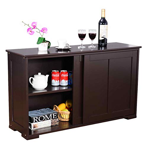 WATERJOY Kitchen Storage Sideboard, Stackable Buffet Storage Cabinet with Sliding Door Panels for Home Kitchen, Antique Brown