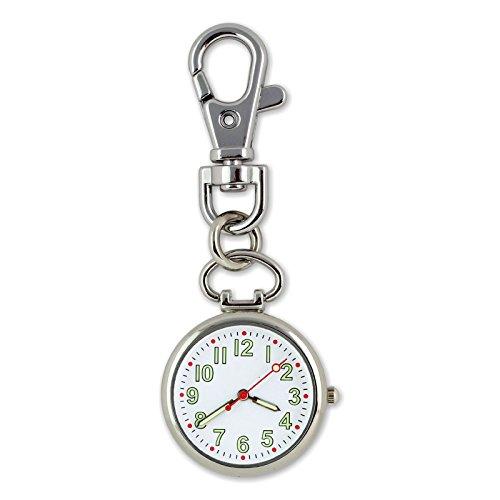 Luococo Porte-clés lumineux montre infirmière à suspendre à clipser Medical Montre de poche