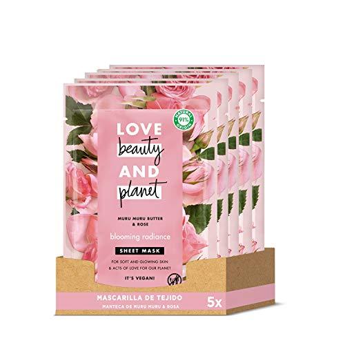 Love Beauty and Planet - Mascarilla de Tejido para Piel suave y luminosa, Manteca de Murumuru & Rosa Vegana (Pack de 5 x 21 ml)