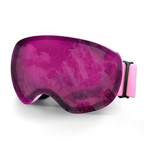 Skibrille,Winter Schnee Sport Snowboardbrille Mit Anti-nebel UV Schutz Austauschbar Sphärische Doppelte Linse für Skifahren, Snowboarden, Skaten-Silber