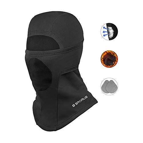 Sturmhaube mit atmungsaktivem Filter, doppeltem Ohrenschutz, Winddichte Balaclava für Ski Motorrad Fahrrad [Schwarz]