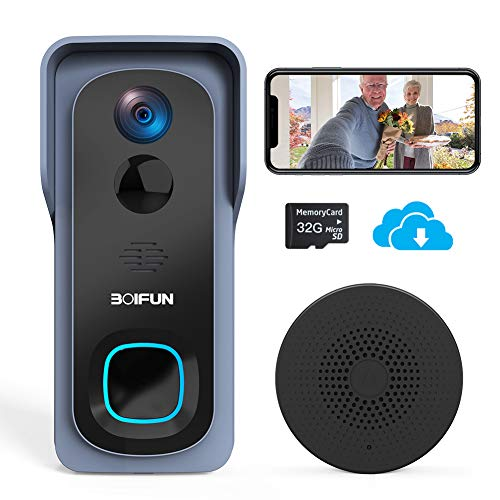 WiFi Video Doorbell Camera,1080P HD Wireless Home Security Door Bell with 32GB Pre-Installed/Chime, IP66 Waterproof, Human Detection, 166Wide Angle, Real-Time Video and 2 Way Audio for iOS & Android