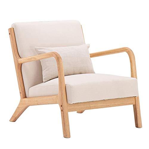 HHORB Sillón retro de tela de lino cómodo, sillón vintage de madera maciza reclinable para dormitorio, comedor, sala de estar, oficina