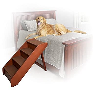 Solvit PetSafe PupSTEP Wood Pet Stairs, X-Large, Foldable Steps for Dogs and Cats, Best for Medium to Large Pets