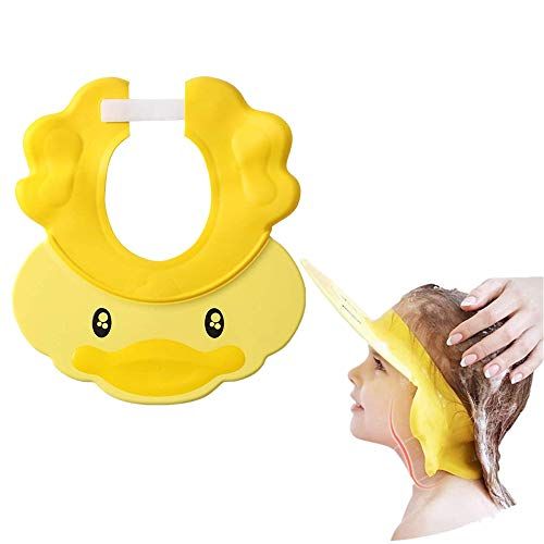 chislim Baby Shower Shampoo Cap,Adjustable Safety Bath Visor Waterproof Hair Washing Bathing Hat with Ear Protection for Toddler, Baby, Kids (Yellow)