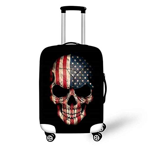 INSTANTARTS Personalized Flag Skull Spandex Travel Luggager Cover Suitcase Protector M