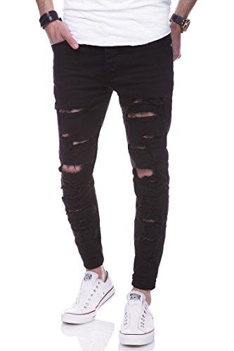 behype. Jeans Destroyed Slim-Fit Hose 80-2094 Schwarz 33/32