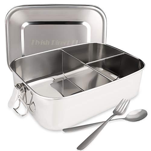 Lunchbox Edelstahl mit festen Fächern Mepal Lunchbox- BPA-frei - Lunchbox Thermo Lunchbox Auslaufsicher Auslaufsichere Bento Box für Kinder und Erwachsene mit einem Löffel und einer Gabel