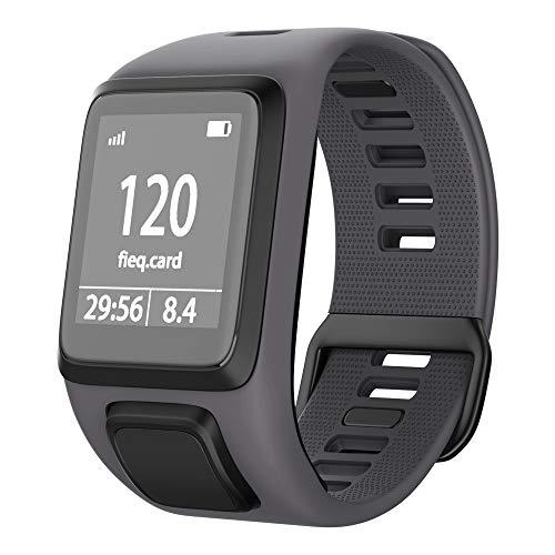 NotoCity Tomtom Runner 3 Armband/Runner 2/Spark 3/Adventurer/Golfer 2 Uhrenarmband Silikon Uhrenbänder für Tomtom Watch (Grau)