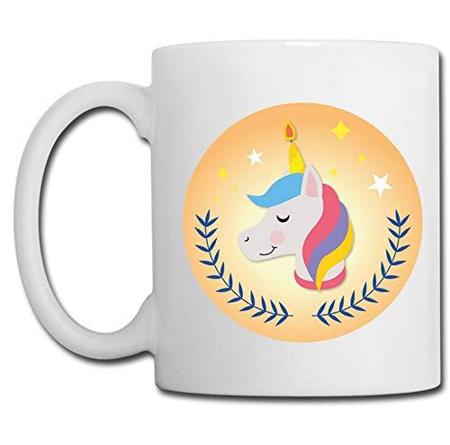 Linyatingoshop - Tazza con unicorno, sfondo giallo, idea regalo per bambini, umorismo, regalo originale