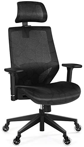 Office Chairs, Ergonomic Office Mesh Chair with 3D Armrest, Tribesigns High Back Desk Chair with Lumbar Support, Skate Wheels, Adjustable Headrest Backrest, Task Swivel Chair for Home Office