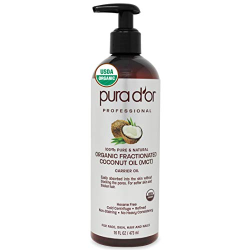 PURA D'OR Organic Fractionated Coconut Oil (16oz / 473ml) USDA Certified 100% Pure & Natural MCT Oil Sustainably Sourced Hexane Free Moisturizing Carrier Oil For Face, Skin & Hair (Packaging may vary)