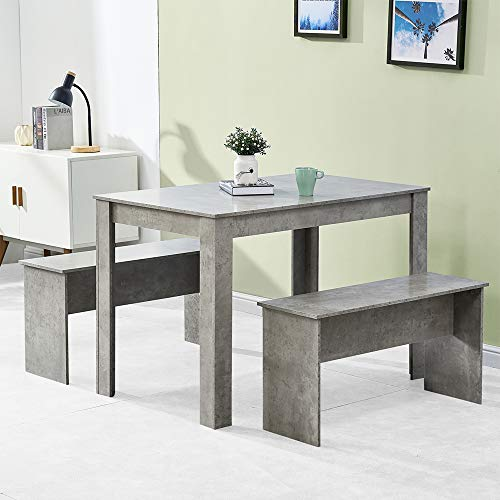 BOJU Small Grey Kitchen Dining Room Table and 2 Benches Set with 4 Seats Wooden Dinette Set Wooden for Small Space Cafe Restaurant (Grey)