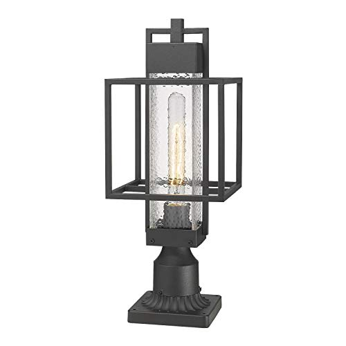 Osimir Outdoor Post Light Fixture, 1-Light Exterior Post Lantern with Pier Mount Base, Pier Light with Bubble Glass Shade Black Finish, Outdoor Light for Patio, Porch, Yard, Garden 2375/1GL