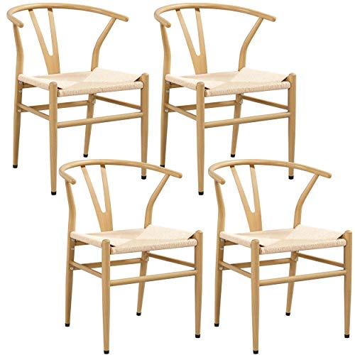 Yaheetech Set of 4 Weave Chair Mid-Century Metal Dining Chair Y-Shaped Backrest Hemp Seat, Wood Color
