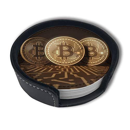 BJAMAJ Bitcoin Row Premium PU Leder Untersetzer Getränke-Runde Untersetzer mit Halter-Sets, geeignet für Zuhause und Küche (6 Stück)