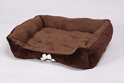 Long Rich HCT REC-005 Reversible Rectangle Pet Bed with Dog Paw Printing, Coffee, By Happycare Textiles, 25 by 21 inches