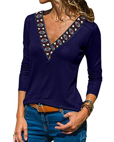 YOINS Sexy Oberteil Damen Langarm Pullover Damen sexy Winter Herbst Pullover Langarmshirt Sweatshirt Stickerei Oberteile Farbverlauf Colorblock Bluse Blau-01 L