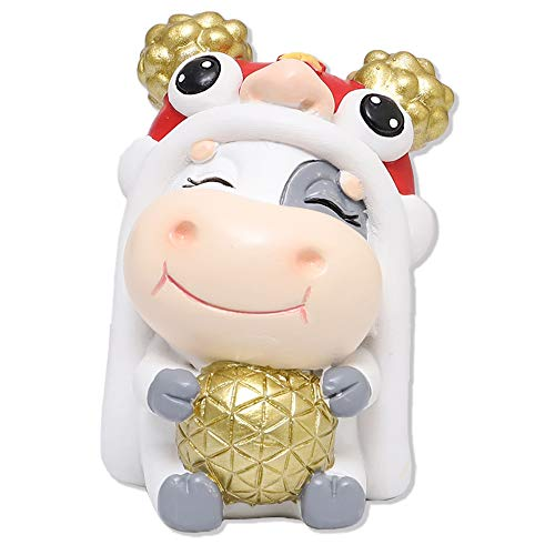 Fancymall Lucky Fortune Ox Cow Collectible Figurines 2021 Chinese New Year Gifts Zodiac Ox Fairy Garden Micro Landscape Miniature Figurines The Year of The Ox Resin Sculpture Bonsai Craft Decor