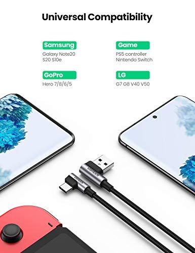 UGREEN USB C Ladekabel 90 Grad Winkelstecker USB-C Kabel Typ C Schnellladekabel kompatibel mit Samsung S10 S9 S8 A50 A20e A5 2017, Huawei P30 Lite, Xiaomi Redmi Note 8, Sony Xperia 10 usw. (0.5m)