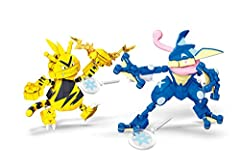 Buildable Greninja and Electabuzz figures  Greninja has articulated legs, tail, head and arms with 2 launchers  Electabuzz has articulated legs, tail, head and arms with a launcher  Hand-activated launcher battle effects for dynamic action sequenc...